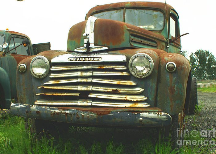 Old Cars Greeting Card featuring the photograph Rustic Mercury by Randy Harris