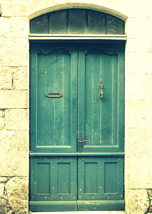 Rustic Door Greeting Card featuring the photograph Rustic Teal Green Door by Georgia Fowler