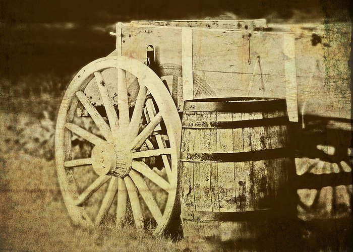 Wagon Greeting Card featuring the photograph Rustic Wagon And Barrel by Tom Mc Nemar
