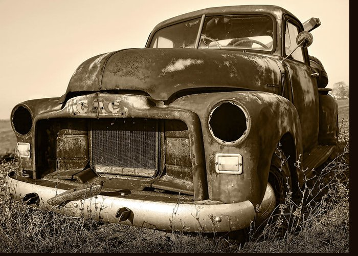 Vintage Greeting Card featuring the photograph Rusty But Trusty Old Gmc Pickup by Gordon Dean II