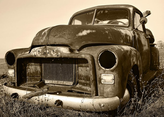 Vintage Greeting Card featuring the photograph Rusty But Trusty Old Gmc Pickup Truck - Sepia by Gordon Dean II