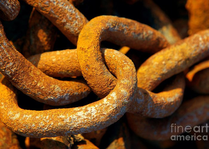 Anchor Greeting Card featuring the photograph Rusty Chain by Carlos Caetano