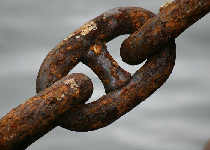 Chain Greeting Card featuring the photograph Rusty Chain by Hans Jankowski