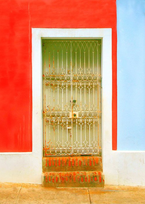 Door Greeting Card featuring the photograph Rusty Iron Door by Perry Webster