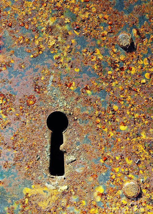 Abandoned Greeting Card featuring the photograph Rusty Key-hole by Carlos Caetano