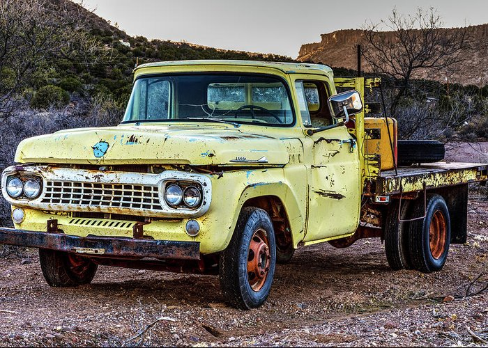 James Marvin Phelps Photography Greeting Card featuring the photograph Rusty Old Work Truck by James Marvin Phelps