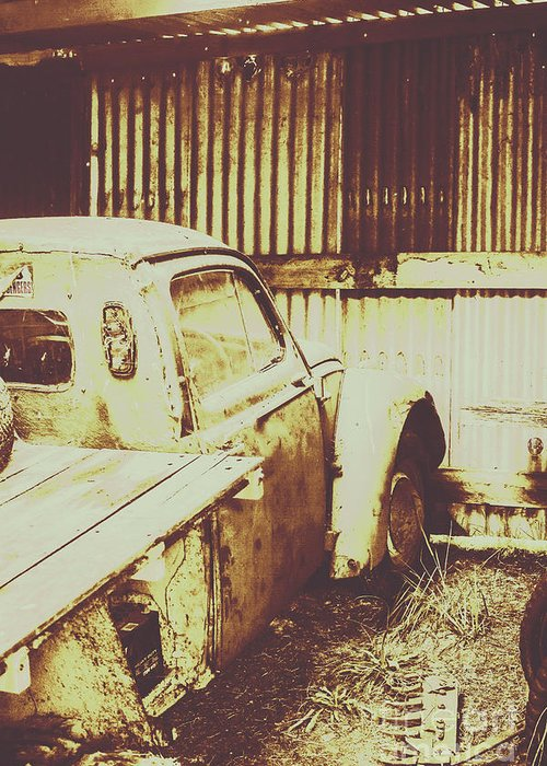 Pickup Greeting Card featuring the photograph Rusty Pickup Garage by Jorgo Photography - Wall Art Gallery