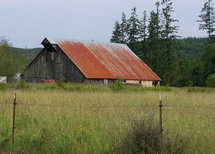 Rusty Greeting Card featuring the photograph Rusty Roofed Barn  Washington State by Laurie Kidd