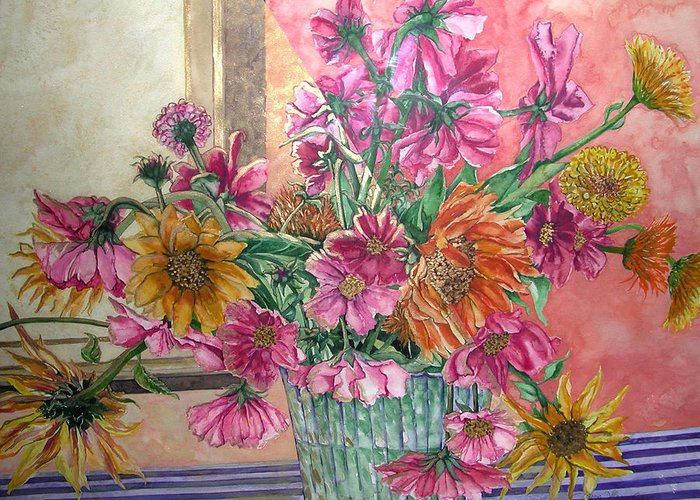 Watercolor Greeting Card featuring the painting Ruth's Bouquet by Caron Sloan Zuger