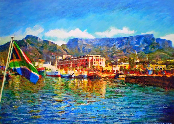 South African Greeting Card featuring the painting Sa Flag At The Waterfront by Michael Durst