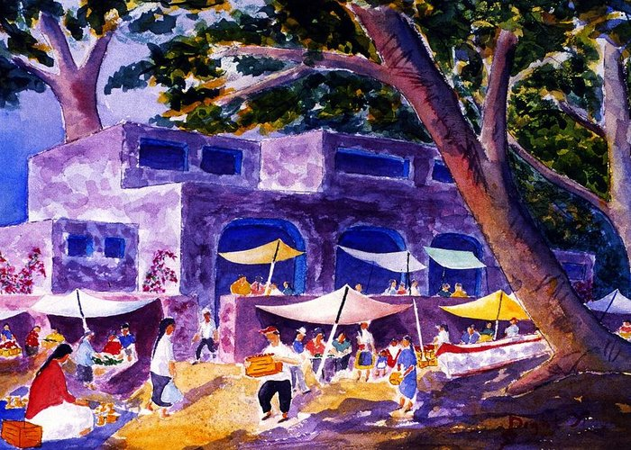 Landscape Greeting Card featuring the painting Sabado Mercado by Buster Dight