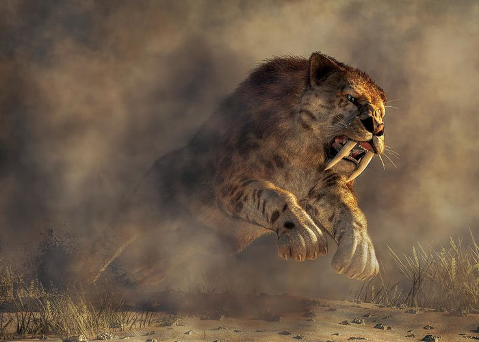 Sabre Tooth Pounce Greeting Card featuring the digital art Sabre Tooth Pounce by Daniel Eskridge