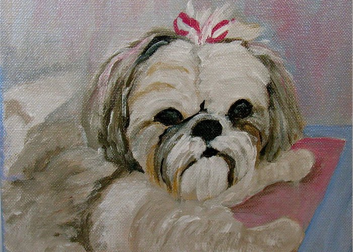 Acrylic Greeting Card featuring the painting Sacha by Donna Steward