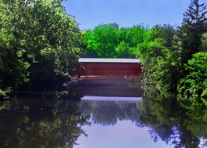 Sachs Covered Bridge Greeting Card featuring the photograph Sachs Covered Bridge In Gettysburg by Bill Cannon