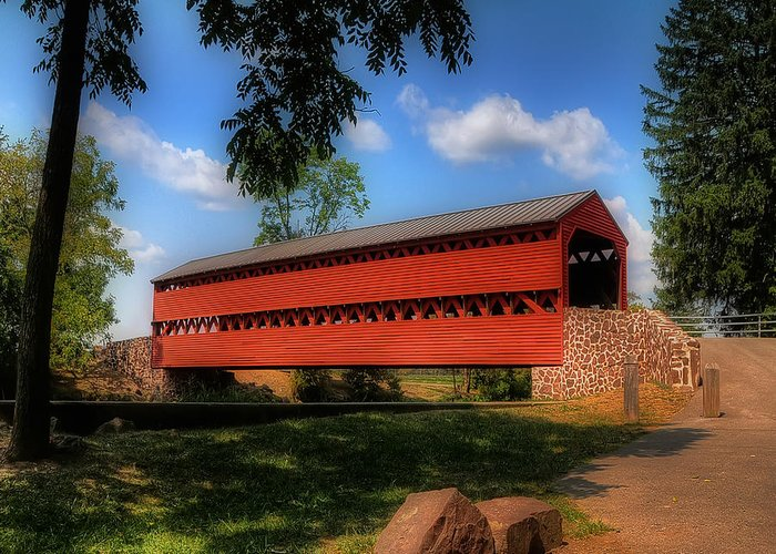 Bridge Greeting Card featuring the photograph Sach's Covered Bridge by Lois Bryan