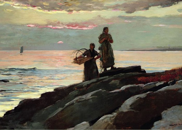 Winslow Homer Greeting Card featuring the painting Saco Bay by Winslow Homer