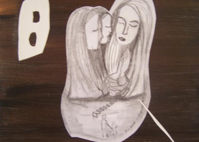 Figures Greeting Card featuring the drawing Sacra Conversation by Geraldine Liquidano
