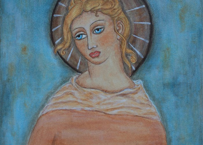 Paintings Greeting Card featuring the painting Sacred Angel by Rain Ririn