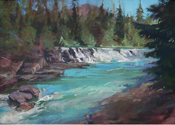 Glacier National Park Greeting Card featuring the painting Sacred Dancing Cascade by Betty Jean Billups