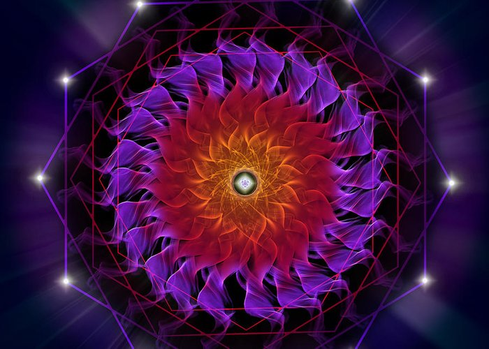 Endre Greeting Card featuring the digital art Sacred Geometry 81 by Endre Balogh