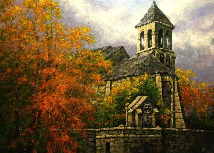 Paris Greeting Card featuring the painting Sacred Heart Chapel Paris by Jim Gola