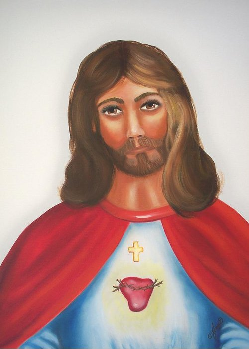 Jesus Greeting Card featuring the painting Sacred Heart Of Jesus by Joni McPherson