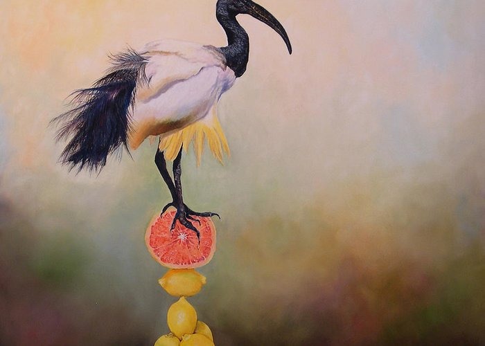 Bird Greeting Card featuring the painting Sacred Ibis Lemon Pyramid by Valerie Aune