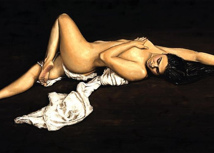 Nude Greeting Card featuring the painting Sacred by Richard Young