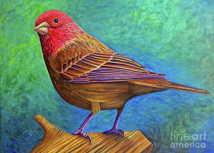 Bird Greeting Card featuring the painting Sacred Space by Brian Commerford