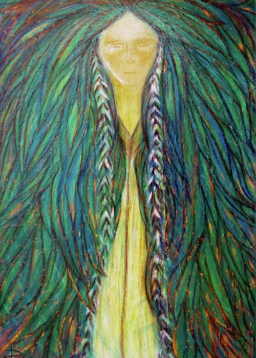 Sacred Teacher Greeting Card featuring the painting Sacred Teacher by NARI - Mother Earth Spirit