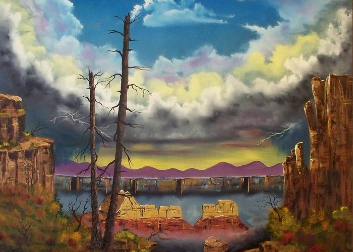 Painting Greeting Card featuring the painting Sacred View by Patrick Trotter