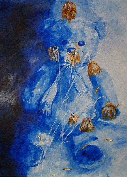 Bear Greeting Card featuring the painting Sad And Blue by Andrea Darlington