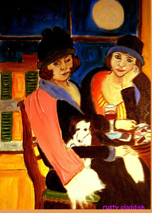 1920s Greeting Card featuring the painting Sad Cafe by Rusty Gladdish