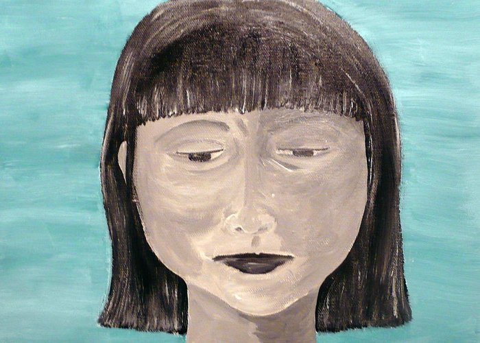 Portrait Greeting Card featuring the painting Sadness by Jennifer Hernandez