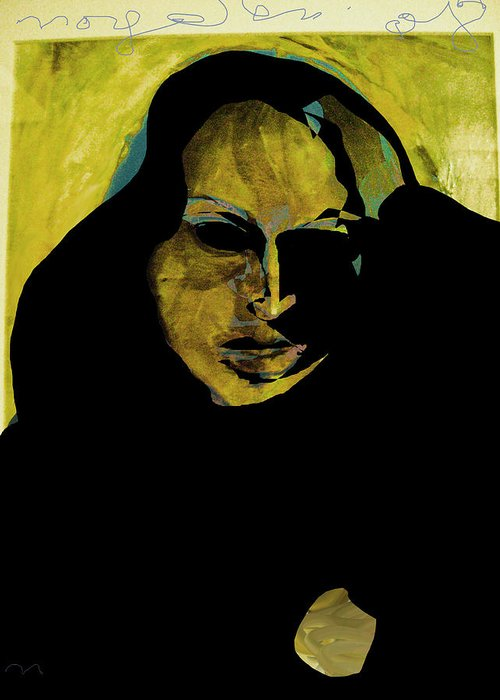 Woman Greeting Card featuring the painting Sadness by Noredin Morgan