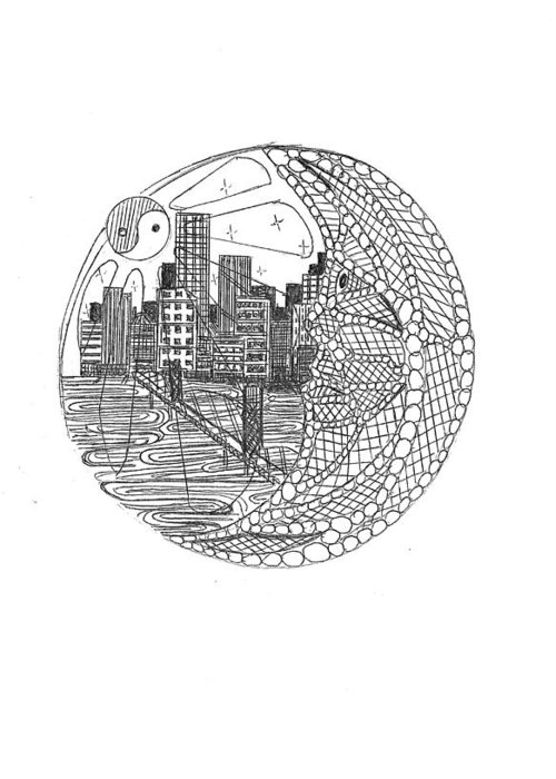 Greeting Card featuring the drawing Safety Net by Harry Richards