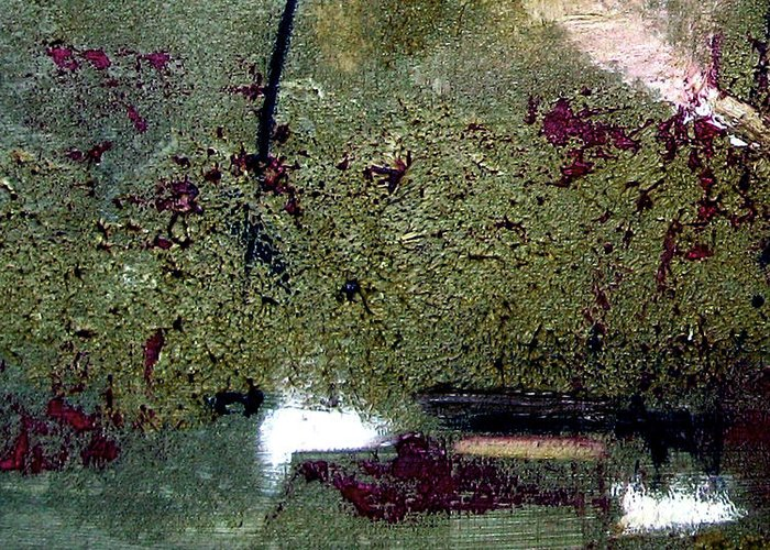 Abstract Greeting Card featuring the painting Sage And Plum by Ruth Palmer