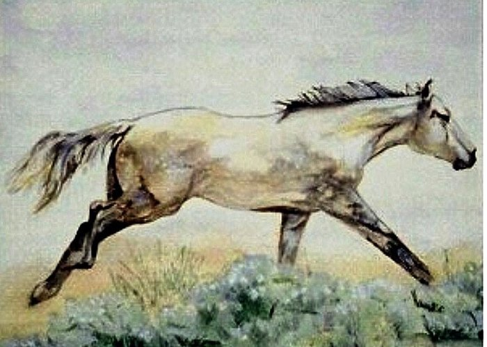 Quarter Horse Greeting Card featuring the painting Sage Runner by Debra Sandstrom