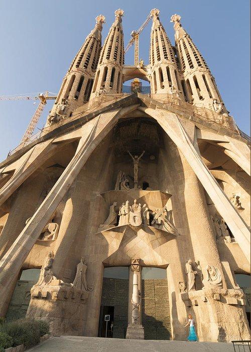 Sagrada Familia Greeting Card featuring the photograph Sagrada Familia Church In Barcelona Antoni Gaudi by Matthias Hauser