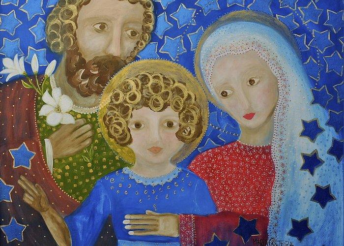 Holy Family. Christmas Card Greeting Card featuring the painting Sagrada Familia by Maria Matheus Maria Santeira