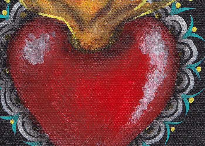 Sacred Heart Greeting Card featuring the painting Sagrado Corazon 1 by Abril Andrade Griffith