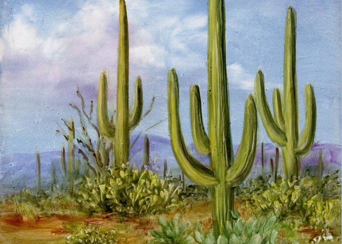 Southwest Greeting Card featuring the painting Saguaro Scene 1 by Summer Celeste