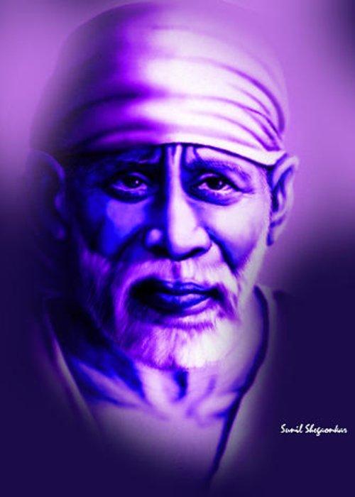 Sai Greeting Card featuring the painting Sai Blue 5 By Sunil Shegaonkar by Saibaba Shirdi