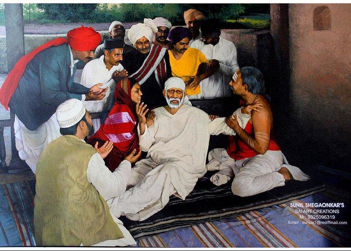 Sai wake up after death greeting card for sale by sunil shegaonkar sai saibaba greeting card featuring the painting sai wake up after death by sunil shegaonkar m4hsunfo
