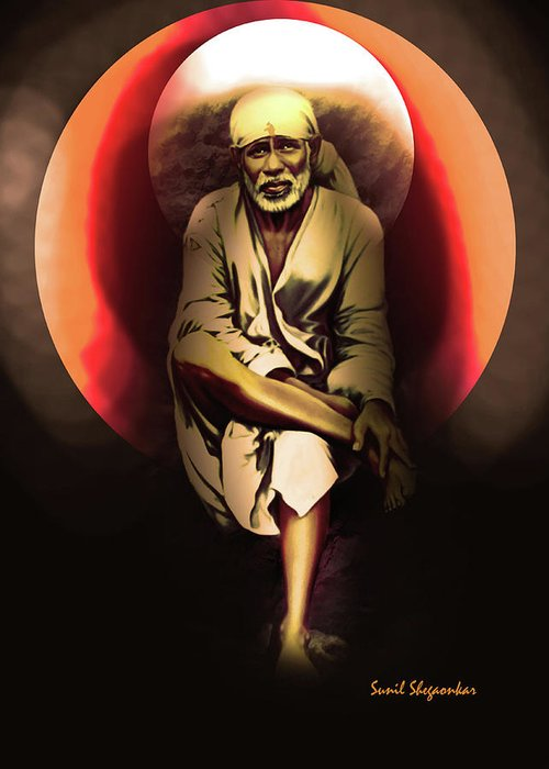 Saibaba on stone with sun greeting card for sale by saibaba shirdi sai greeting card featuring the painting saibaba on stone with sun by saibaba shirdi m4hsunfo