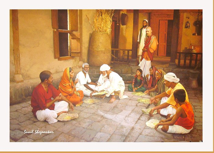 Saibaba serves food to village people greeting card for sale by saibaba greeting card featuring the painting saibaba serves food to village people by sunil shegaonkar m4hsunfo