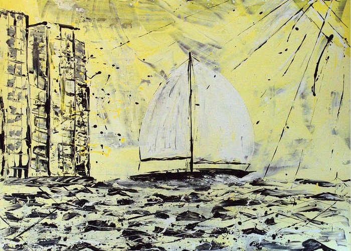 Abstract Greeting Card featuring the painting Sail And Sunrays by J R Seymour