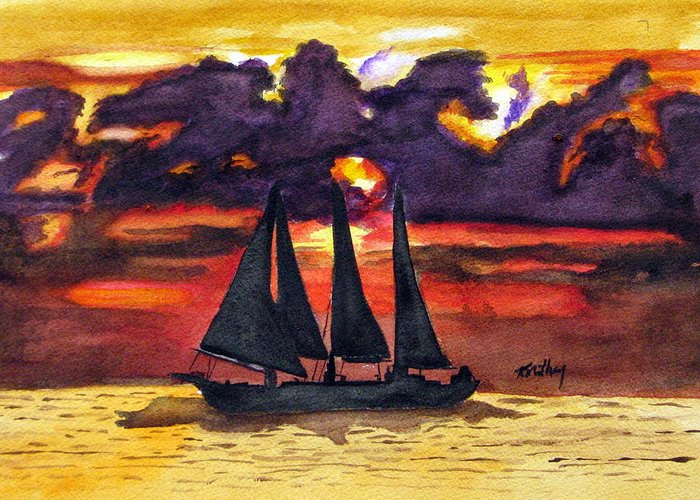 Sunset Greeting Card featuring the painting Sail Away With Me by Karla Mathey