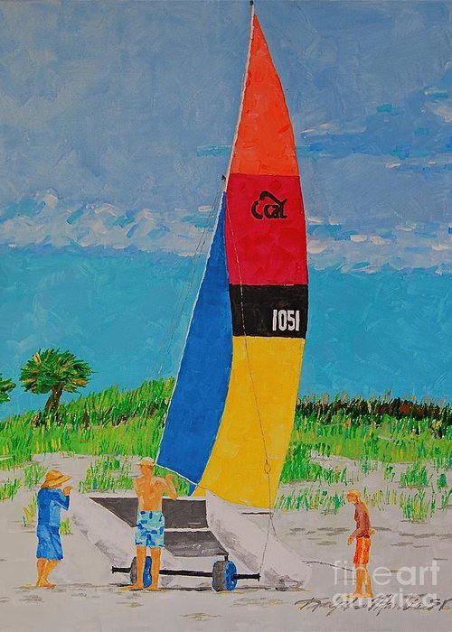 Beach Art Greeting Card featuring the painting Sail Preparation by Art Mantia