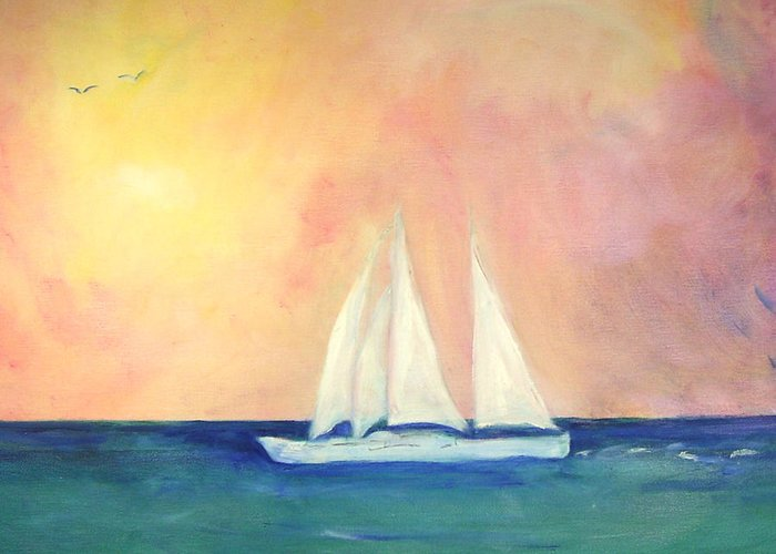 Coastal Greeting Card featuring the painting Sailboat - Regatta Of One by Michela Akers